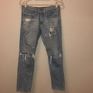 AG ripped straight leg crop jeans